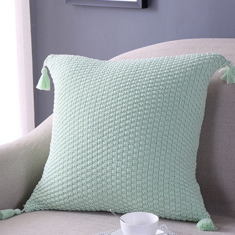 Square solid color knitting tassel cushion soft fabric can used in car bedroom sleep child toy sofa decoration