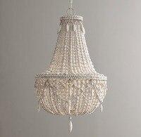 Antique white wood bead chandelier lighting vintage black kitchen chandelier retro wooden light fixture