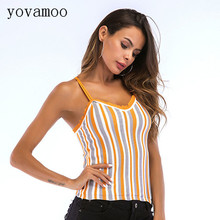 Yovamoo V-neck Vertical Striped Color Block Sexy Back Cross Knitted Ladies Vest Camisole Summer Tops For Women 2018 color block v back tied sweatshirt