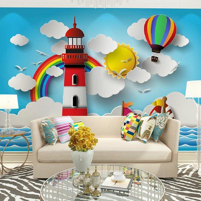 Custom Size Home Decor Wall Murals Papel De Parede 3d Stereoscopic Cartoon  Wallpaper For Kids Room