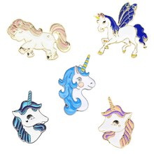 Hot Fahsion Kartun Colorful Unicorn Alpaca Enamel Bros Lencana Manis Lucu Kepala Kuda Bros Pin Wanita Korsase Perhiasan(China)