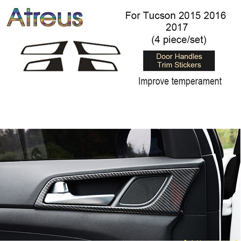 Atreus 3D Carbon Fiber Trim Car Sticker Interior Decorative For Hyundai Tucson 2016 2017 2015 Accessories epr car styling for mazda rx7 fc3s carbon fiber triangle glossy fibre interior side accessories racing trim
