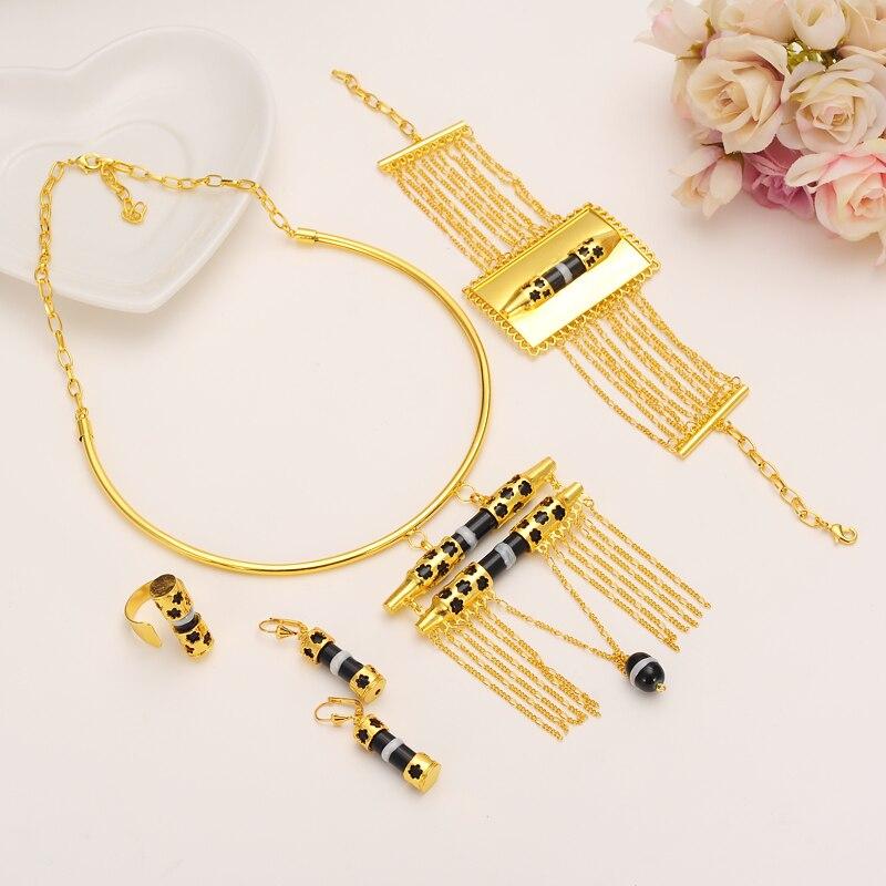 24K Big Gold Ethiopian Wedding Sets Jewelry Africa women Habesha beads Gold Jewellery Et ...