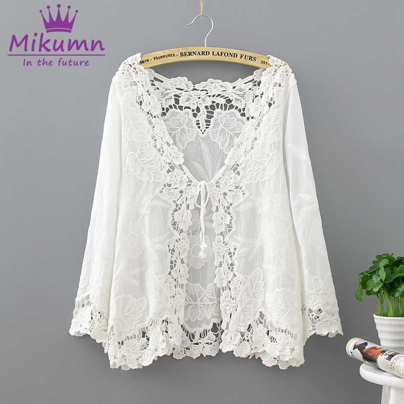 Mikumn 2019 Summer Women Shirt White Cotton V-neck 3/4 Sleeve Casual Loose Hollow Out Lace Cardigan Blouse Tops Camisas Mujer