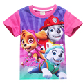 new 2017 baby girl summer short sleeve t-shirt fashion cartoon dog children tops  girls patrol dog cotton t-shirts clothes