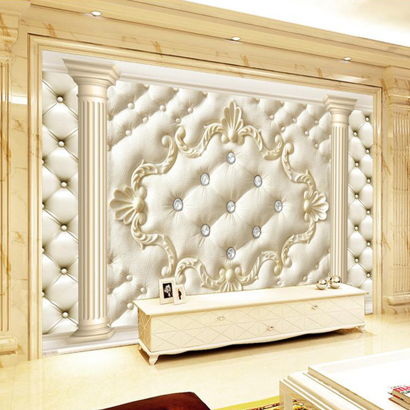European Style Roman Column Soft Pack 3D Wall Mural Custom Photo Wallpaper Fashion Diamond Luxury Wall Covering Papel De Parede