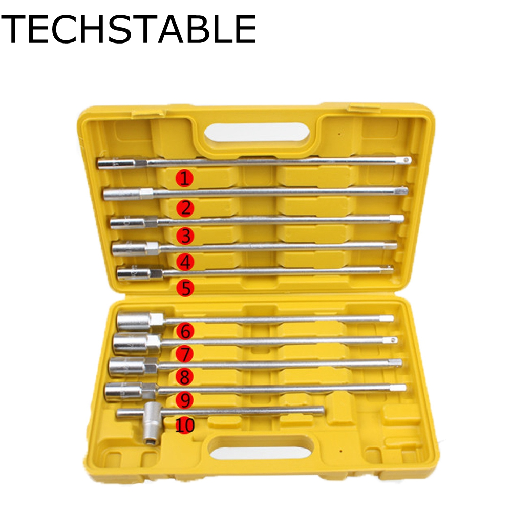 TECHSTABLE 11pcs  Wrench Set 8-19mm Hex Socket head 3/8 T-Shaped Chrome Vanadium Repair Tools Free Shipping free ship 44pcs set chrome vanadium steel amphibious socket wrench set spanner car ship machine repair service tools kit
