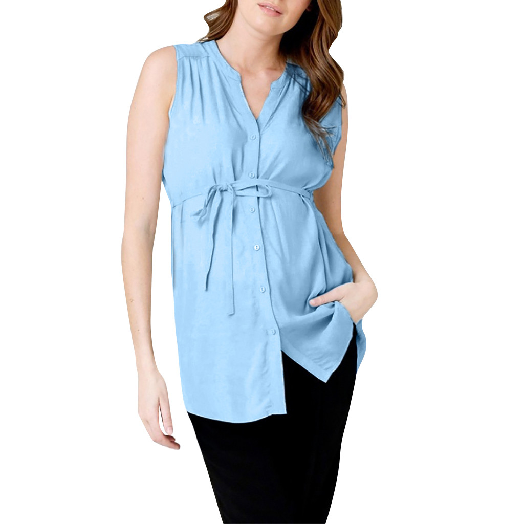219eda8226cd Maternity Clothes T-Shirt For Pregnant Cusual Sleeveless Summer Solid Blouse  Cloth Simple Bteastfeeding Pregnant Soft Shirt