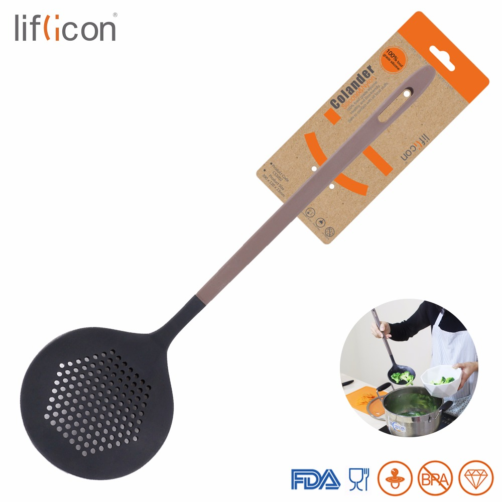 Liflicon Silicone Round Skimmer Spider Colander Strainer Scoop Kitchen Silicone Slotted Spoon-With Strong Silicone Covering Head