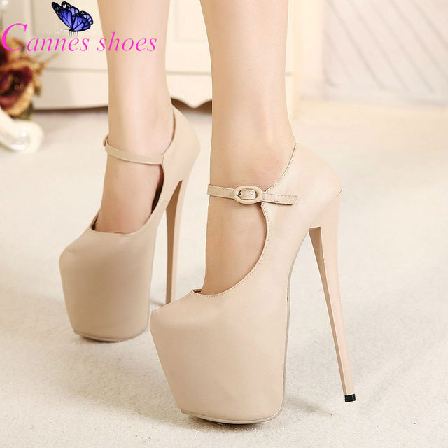 Nude pumps women shoes 19cm high heeled shoes thin heels pumps ...