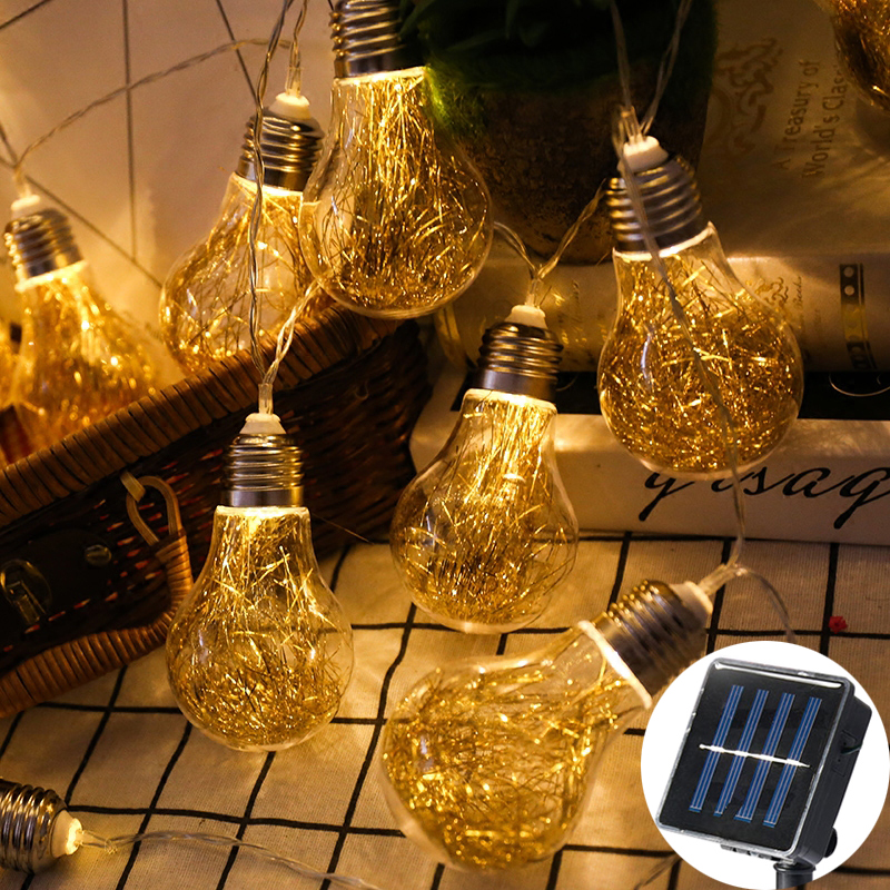 Retro Gold Transparent Bulb Solar Lamp Power LED String Fairy Lights Solar Garlands Gard ...