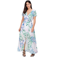 White Tropical Printed Wrap Maxi Dress 2017 Modest Fashion Full Length Split Women S Party Holiday