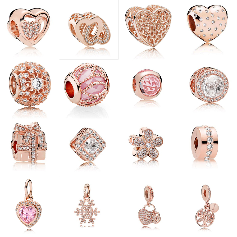 Rose Gold Collection 100% 925 Sterling Silver Clear Hearts Butterfly Charm&clip Fit Original pandora bead bracelet DIY Jewelry