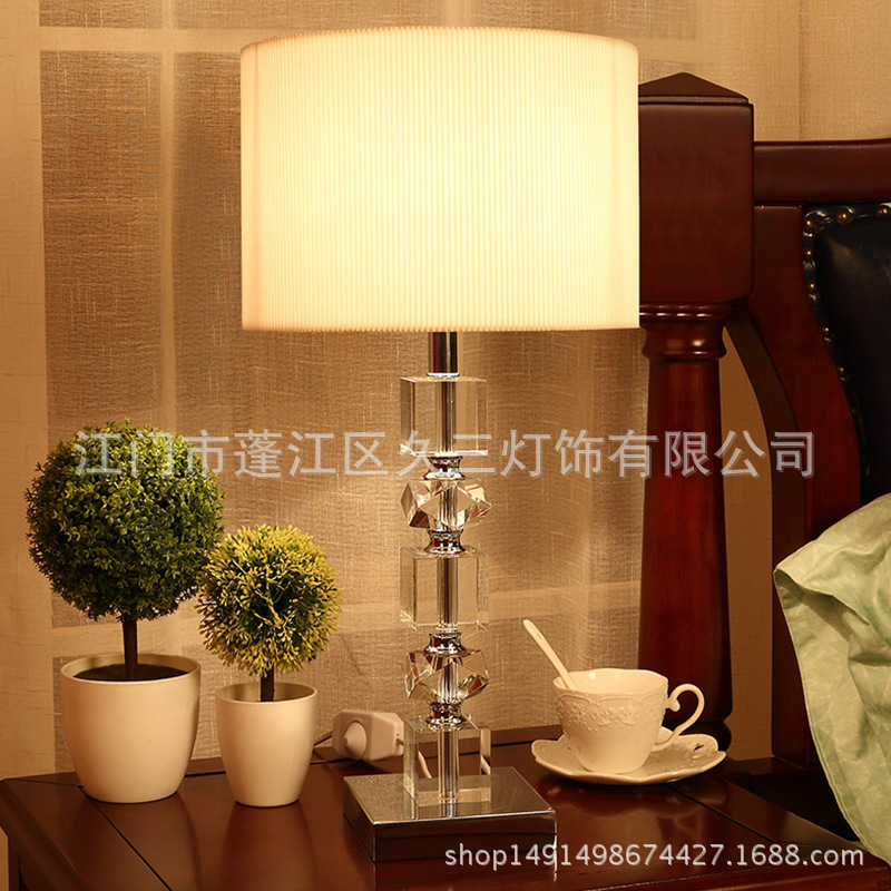 Tuda American Style K9 Crystal Table Lamp for Bedroom Mixed Color Lampshade Crystal Remote Control  Table Lamp Large Table LampsTuda American Style K9 Crystal Table Lamp for Bedroom Mixed Color Lampshade Crystal Remote Control  Table Lamp Large Table Lamps