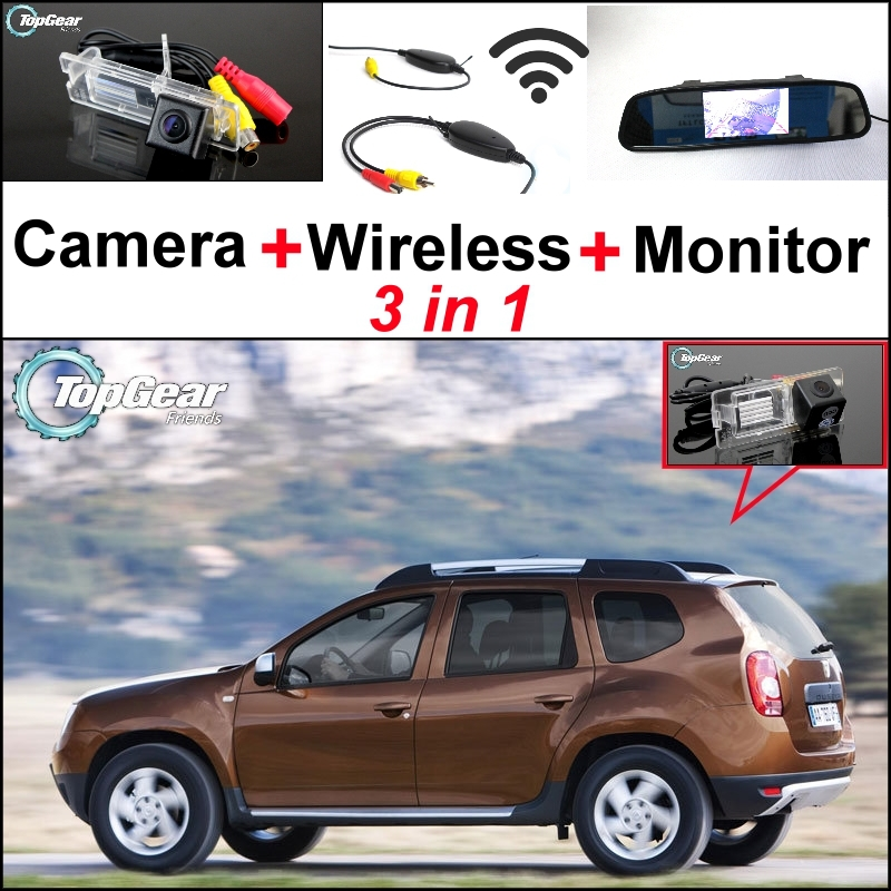 3 in1 Special Rear View Camera + Wireless Receiver + Mirror Monitor Easy DIY Back Up Parking System For Dacia Duster for ford escape maverick mariner car parking sensors rear view back up camera 2 in 1 visual alarm parking system