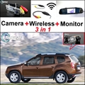 3 in1 Special Rear View Camera + Wireless Receiver + Mirror Monitor Easy DIY Back Up Parking System For Dacia Duster