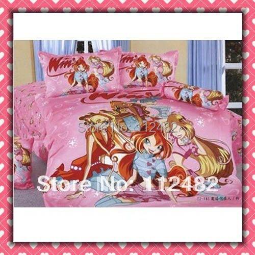 Cartoon Cotton children 3pcs Bedding Set Winx Kid Bedding Free Shipping