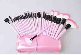 A3201 Профессиональные Кисти косметический Набор 24 Шт. Козьей шерсти составляют Щетки в Розовый Кожаный мешок макияж 32 шт./компл.