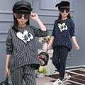 Девушки одежда наборы полосатый печати с длинным рукавом + брюки 2 штук 2016 осень бутик детской одежды 12 лет подросток
