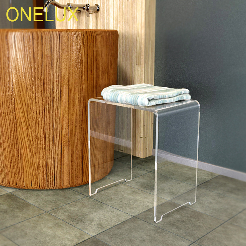 Waterfall Clear Acrylic Shower Stool,Vanity Bathroom Stools, Lucite U table -40W 30D 43H CM one lux plain and elegant clear transparent plexiglass acrylic bedside table with shelf 40w 30d 45h cm lucite nightstand