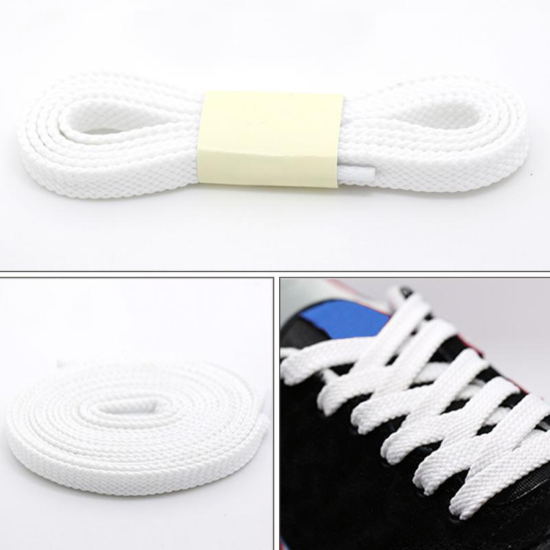 1 Pair Polyester Thick Flat Shoelaces Wide Sports Casual Shoe Lace For Sneakers 100cm White Black Solid Color