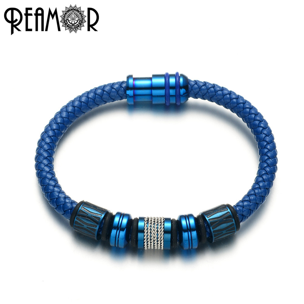 REAMOR Blue Genuine Leather Bracelet For Men Jewelry Plating Color Stainless steel Beads Magnetic Clasp Unisex Bangle 17-21cm