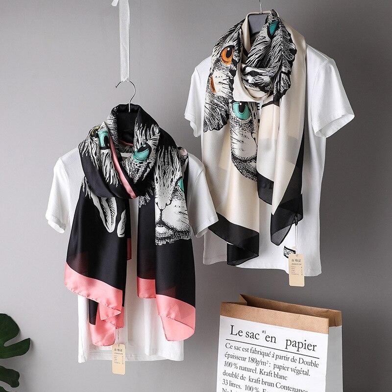 2018 Luxury Brand Lovely Animal Cat Women's   Scarf   Fashion Lady Silk   Scarves   Print Soft Shawls Pashmina Foulard Bandana Hijab