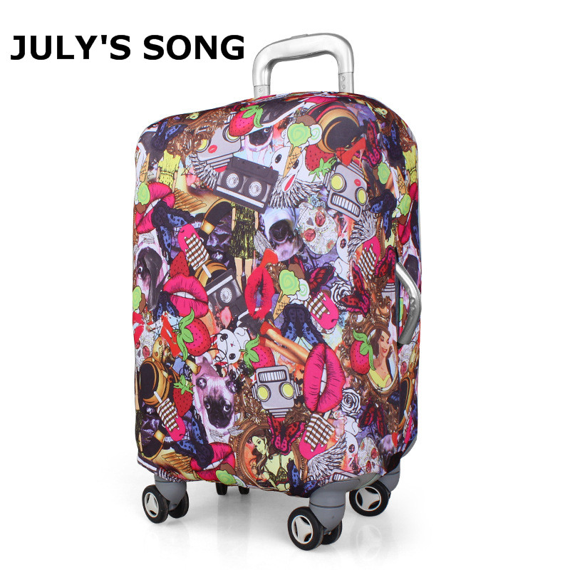 Black White Design Elastic Thick Travel Suitcase Protective Luggage Cover Apply to 20 28 Case Suitcase