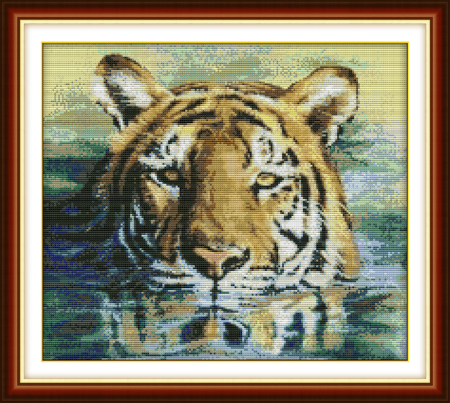 A tiger in water cross stitch