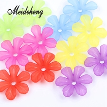30pc 31x28mm Multi Colorful Acrylic Flower Beads Big Hole Six petals Frosted flowers For Jewelry Making Garment Accessory