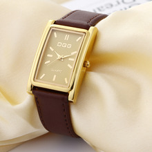 New Luxury Brand DQG Leather Strap Rectangle Quartz Watch Women Simple Business Dress Watches Gold Dial  Watch Clock Hot Sale