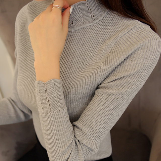 2019 Korean Fashion Women Sweaters and Pullovers Sueter Mujer Ruffled Sleeve Turtleneck Solid Slim Sexy Elastic Women Tops 3