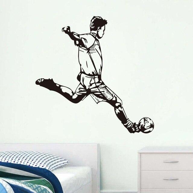 Adhesivos deportivos de pared A la moda para hombre, diseño especial, pared de fútbol, dormitorio infantil, calcomanía de fútbol, calcomanías artísticas en la pared de salón