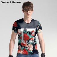 Personalized Rose Pattern 3D Printing Fashion Casual T Shirt Summer New Arrival High Quality Ice Silk