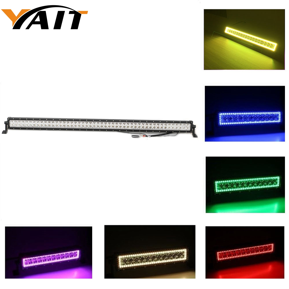 Yait 288W 50 Spot LED Light Double Row led light Bar with RGB Halo Ring Bar Led IP67 Waterproof for Off road Vehicle Auto Boat