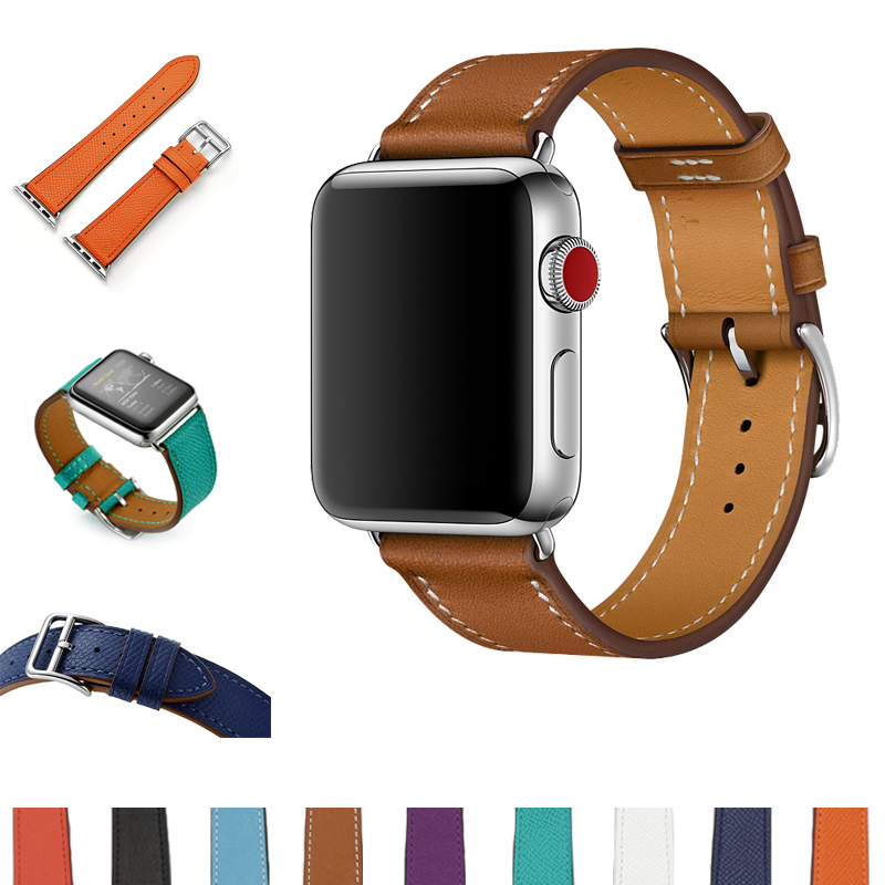 URVOI Strap for iwatch belt single Tour band for apple watch series3 2 1 for Hermes watch band luxury genuine Swift Leather loop недорого