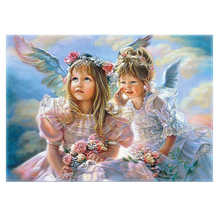 WEEN Angel girl oil paint by number kit ,DIY Paint by numbers with frame for kid,Wall art picture,Living room decoration 40X50CM(China)