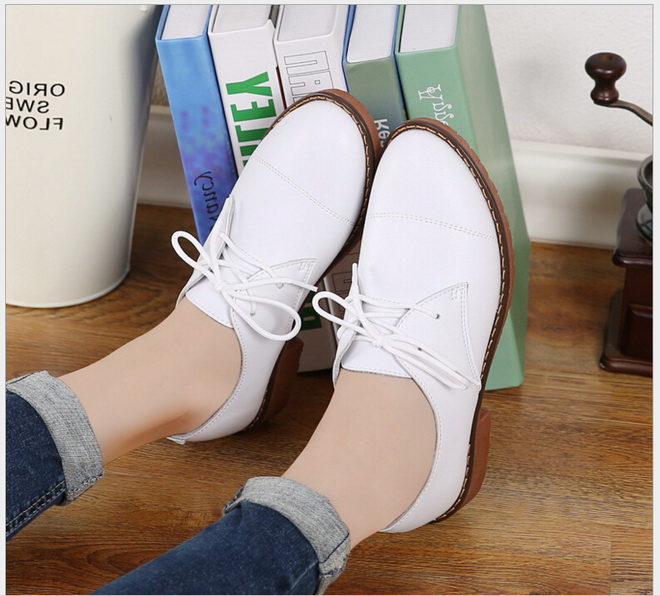 2017 Genuine Leather font b Women b font Flat Shoes New Spring Autumn Lace up Student
