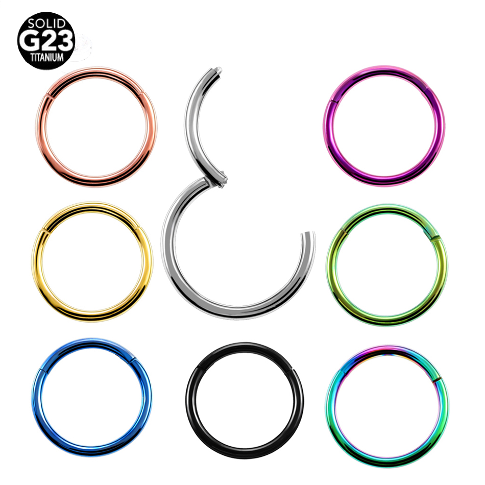 10pcs/lot 16G 14G G23 Titanium PVD Universal Piercing Segment Hinged Rings Labret Lip Nose Earrings Piercing Body Jewelry SWANJO magnetic labret ear nose spike 16