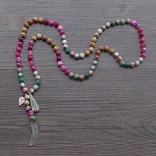 Женские Длинное Ожерелье Смешанные 8 мм натуральный камень шарик с лист/сова кисточкой завязанный ожерелье высокое качество чешские ювелирные изделия