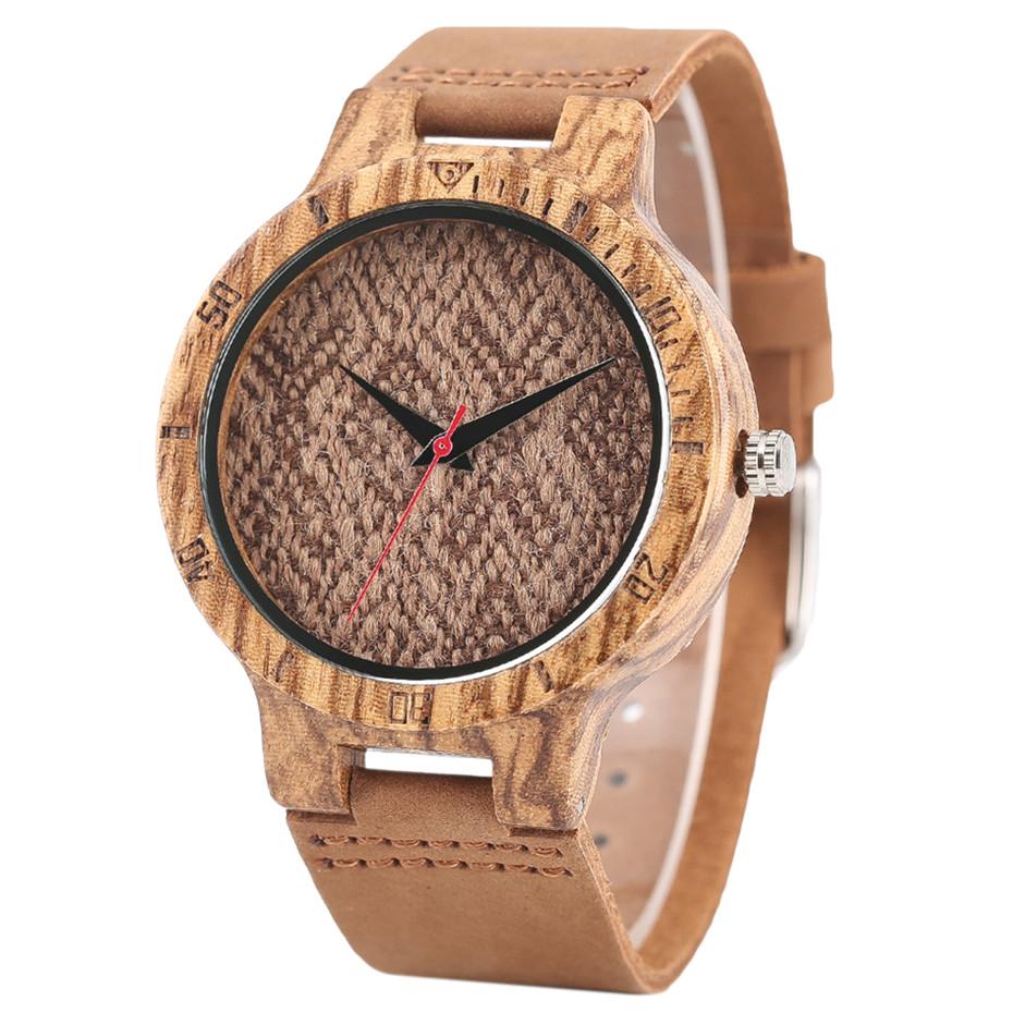 Creative Shiny Weave Bamboo Wood Watch Nature Analog Quartz Cool Men Wristwatch Women Leather Strap Bracelet Handmade Clock Gift Fashion (39)