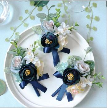 10Pcs Navy blue corsage flower Free shipping bride groom bridesmaids corsage brooch hand wrist flower wedding photography props