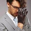Homem de pele de carneiro luvas luvas de couro da moda fina quente no inverno mem moda sólidos boa quallity couro luvas de super quentes