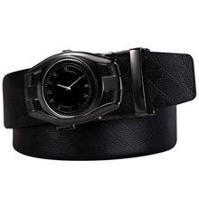DUBULLE New Leather Genuine Rand Fashion Time Automatic Buckle Black Belt Men Cowhide Belts For DB-2102