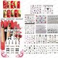 MAYOR de 50 hojas/LOT 3d Feather & Flower & Butterfly & Marca Nail Art Diseño Francés Glitter Sticker Calcomanías sistema de desarrollo de CONOCIMIENTOS DEL ARTE DEL CLAVO