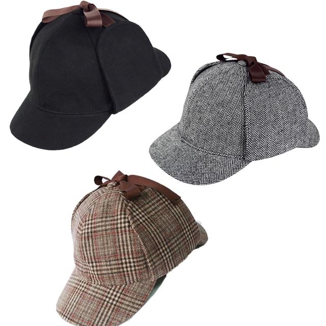 fa6cf96c High Quality Cosplay Cap Detective Sherlock Holmes Deerstalker Hat Gray  Black Brown Caps New Berets Cap