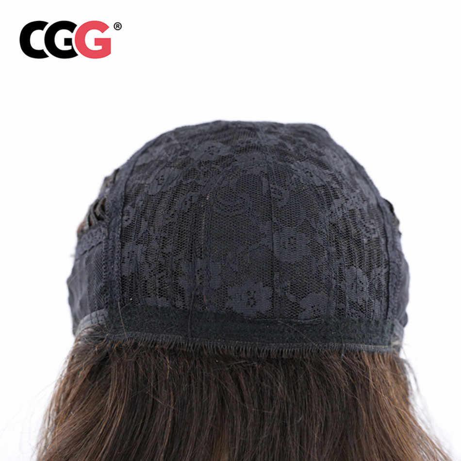 CGG парики человеческих волос с челкой глубокая волна длинные волосы парики для черный Для женщин-Реми перуанской естественный Цвет плотность 150%