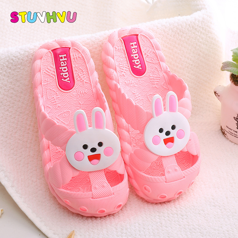 Children's slippers boys summer shoes soft bottom indoor non-slip cute animal home slippers baby kid sandals girls flip flops