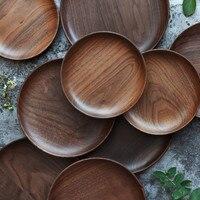 Japanese 3 Size Black Walnut Storage Tray Wooden Pallet Tea Tray Saucer Sushi Dishes Fruit Tableware