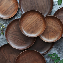 Japanese 3 Size Black Walnut Storage Tray Wooden Pallet Tea Tray Saucer Sushi Dishes Fruit Tableware
